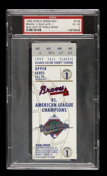 1992 Atlanta Braves vs. Toronto Blue Jays World Series Game 1 Slabbed Ticket (PSA)