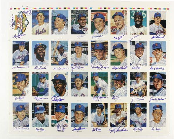 "1969 New York Miracle Mets 25th Anniversary Signed Uncut Ron Lewis 24"" x 28"" Postcard Sheet w/ Berra, Seaver, Ryan & More (JSA)"