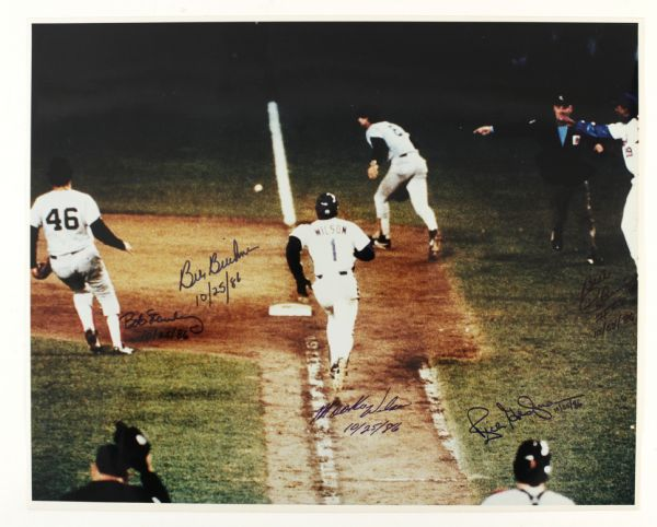"1986 New York Mets vs. Boston Red Sox World Series Game 6 Signed 16"" x 20"" Photo w/ Bill Buckner, Mookie Wilson & More (JSA)"