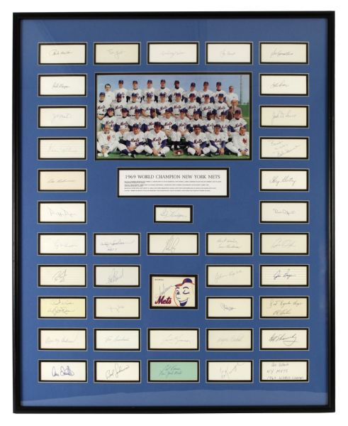 "1969 New York Mets World Series Champions 33"" x 41"" Signed Index Card and Photo Display w/ 40 Signatures Including Ryan, Seaver, Hodges, Berra (JSA)"