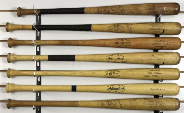 1950s-80s Adirondack Store Model & Little League Bat Collection w/ Aaron, Mantle, Mays, DiMaggio & More - Lot of 13
