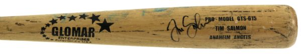 1997-04 Tim Salmon Anaheim Angels Signed Glomar Professional Model Game Used Bat (MEARS A9.5)