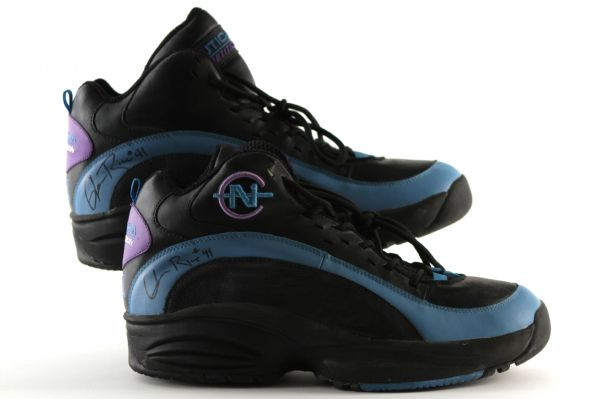 1996-98 Glen Rice Charlotte Hornets Signed Nautica Competition Game Worn Shoes (MEARS LOA)