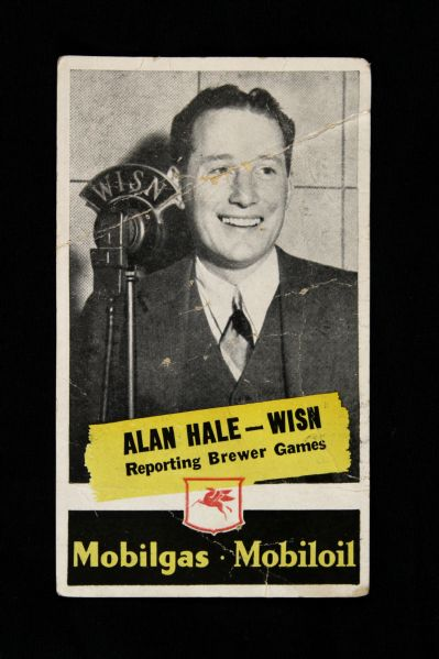 1937 Milwaukee Brewers AAA Baseball Schedule with B&W Photo of Radio Announcer Alan Hale