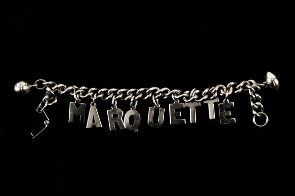 1950s circa Marquette University Bracelet w/ Football & Basketball Charms