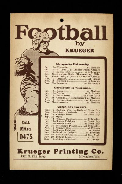 "1936 Green Bay Packers University of Wisconsin Marquette University 5.5"" x 8"" Football Schedule"