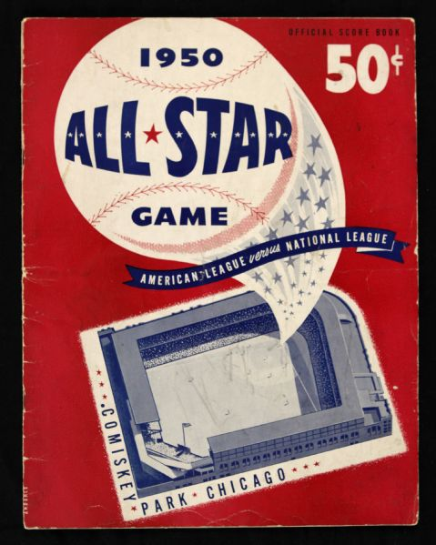 1950 All Star Game Program Scored Comiskey Park