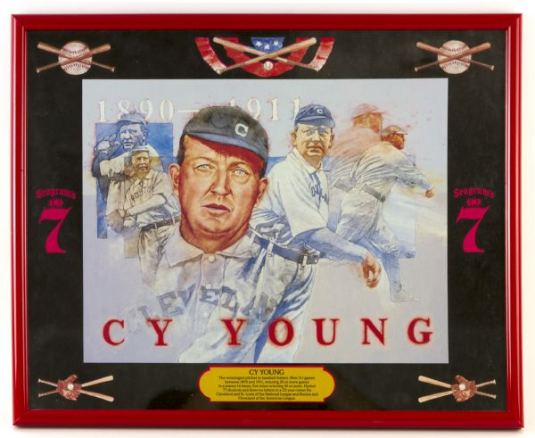 "1980s Cy Young Seagrams 7 17"" x 21"" Framed Mirrored Display"
