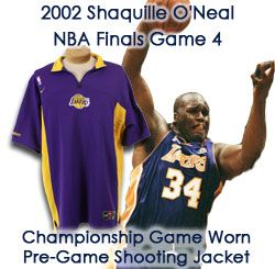 2002 Shaquille ONeal Los Angeles Lakers Signed NBA Finals Worn Road Game 4 Shooting Shirt - MEARS LOA/JSA (Ed Borash Collection)