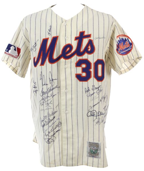 1969 New York Mets Signed  Mitchell & Ness Cooperstown Collection Jersey w/ 31 Signatures Including Ryan, Seaver, Berra & More (JSA)