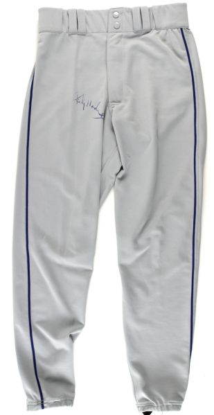 1999 Rickey Henderson New York Mets Signed Game Worn Road Pants (JSA)