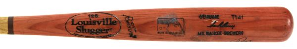 1999-2000 Sean Berry Milwaukee Brewers Autographed Louisville Slugger Professional Model Game Used Bat (MEARS A9)