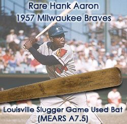"1957 (only) Hank Aaron Milwaukee Braves H&B Louisville Slugger Professional Model Game Used Bat (MEARS A7.5) ""Murder With A Blunt Instrument"""