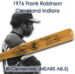 1976 Frank Robinson Cleveland Indians Signed H&B Louisville Slugger Bicentennial Professional Model Game Used Bat (MEARS A8.5)