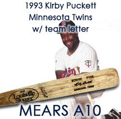 "1993 Kirby Puckett Minnesota Twins Louisville Slugger Professional Model Game Used Bat w/ Verified Team Letter ""One of the Finest Examples Known!"" MEARS A10/Twins Team Letter"