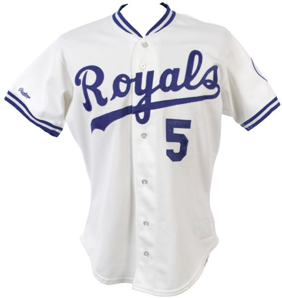1990 George Brett Kansas City Royals Game Worn Home Jersey (MEARS Auction LOA)