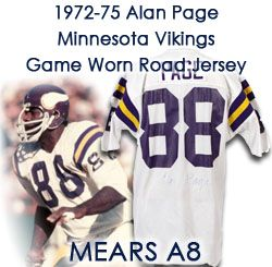 1972-75 Alan Page Minnesota Vikings Signed Game Worn Road Jersey w/ 20 repairs (MEARS A8 / JSA)