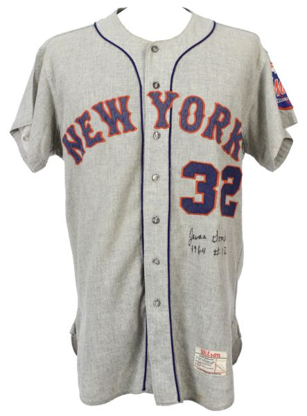 1964 Jesse Gonder (#12) New York Mets Signed Game Worn Road Jersey w/ Team Number Change to 32 in 1966 for Jack Hamilton (MEARS LOA/JSA)