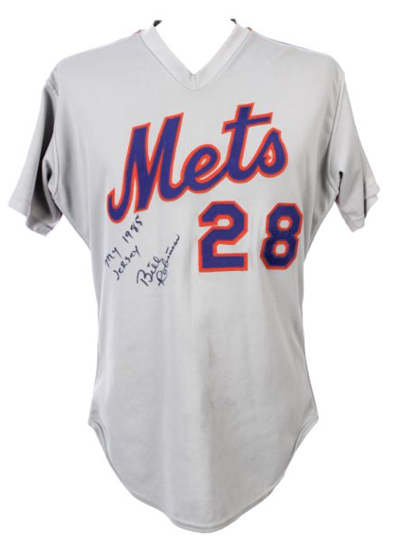 1985 Bill Robinson New York Mets Signed Game Worn Road Uniform w/ Jacket, Stirrups & Belt (MEARS LOA)