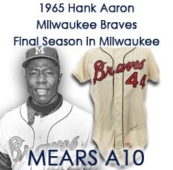 "1965 Hank Aaron Milwaukee Braves Autographed Game Worn Home Jersey (MEARS A10/JSA) ""Final Season for Hank and Franchise"""