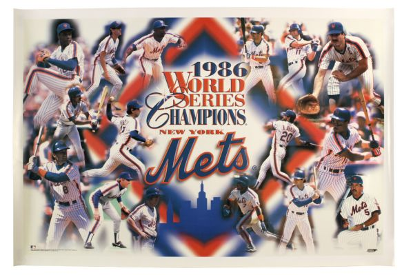 "1986 New York Mets 25"" x 37"" World Series Champions Commemorative Poster"