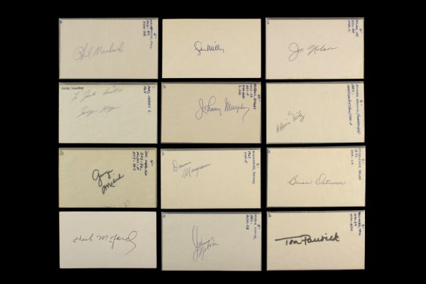 1960s-80s Signed Index Card & Baseball Card Collection - Lot of 100+ (MEARS LOA)