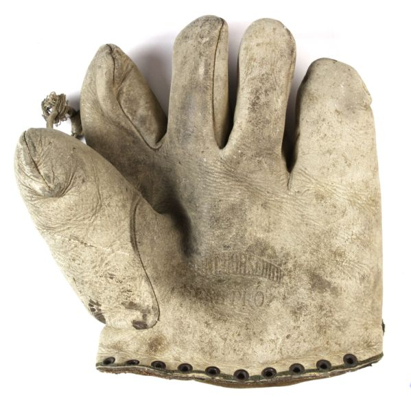 1920s Semi Pro White Buckskin Tunnel Web Baseball Glove