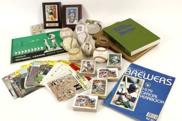 1954-89 Sports Books Baseball Cards Signed Baseballs Memorabilia Collection - Lot of 335