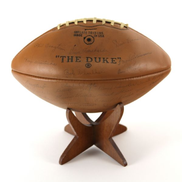 1967 Green Bay Packers Super Worlds Champs Commemorative The Duke Football w/ 48 Stamped Signatures