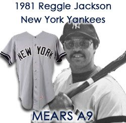 "1981 Reggie Jackson New York Yankees Game Worn Road Jersey (MEARS A9) ""Final Season as a Yankee"""