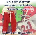 1971 Keith Wortman Nebraska Cornhuskers Signed Game Worn Pants from Game of Century (MEARS LOA/JSA) Keith Wortman Collection