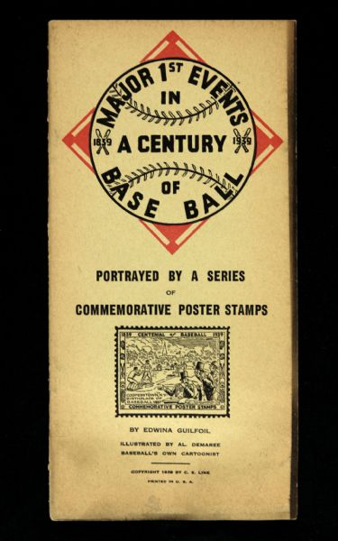 1939 Major 1st Events in a Century of Baseball Commemorative Stamp Book
