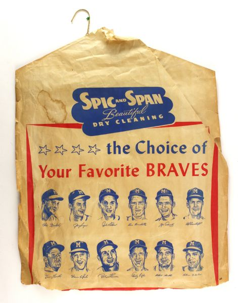 1954-56 Milwaukee Braves Spic N Span Dry Cleaning Bag