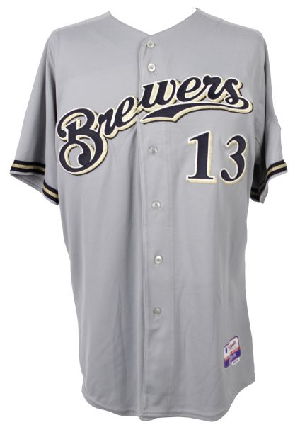 2008 Eric Munson Milwaukee Brewers Spring Training Road Jersey (MEARS LOA/MLB Hologram)