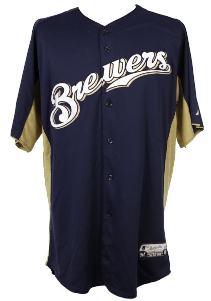 2011 Wil Nieves Milwaukee Brewers Batting Practice Jersey (MEARS LOA/MLB Hologram)