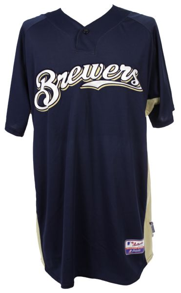 2008 Zach Jackson Milwaukee Brewers Batting Practice Jersey (MEARS LOA/MLB Hologram)