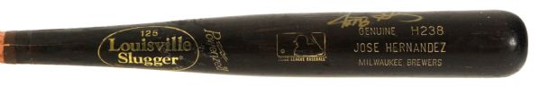 2000-02 Jose Hernandez Milwaukee Brewers Signed Louisville Slugger Professional Model Game Used Bat (MEARS LOA/JSA)