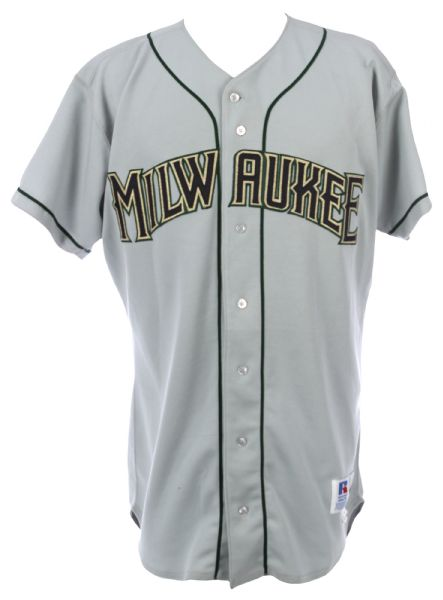 1996 Byron Browne Milwaukee Brewers Spring Training Road Jersey & Adjustable Cap (MEARS LOA)