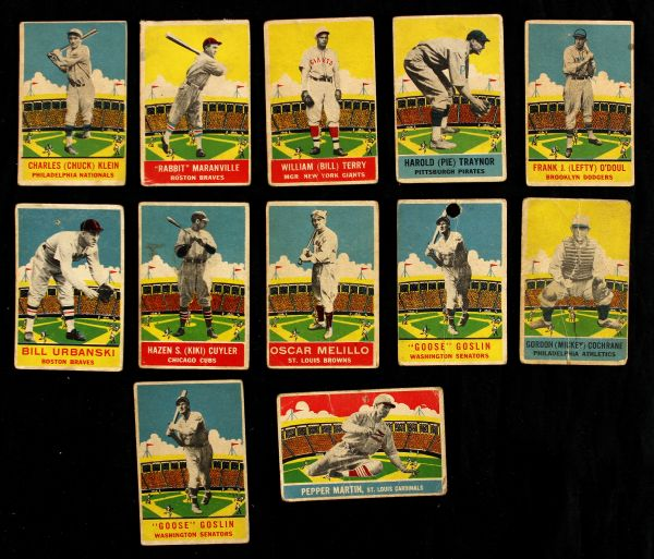 1933 DeLong Baseball Cards Traynor Terry Cuyler Cochrane Goslin Martin Lot of 12
