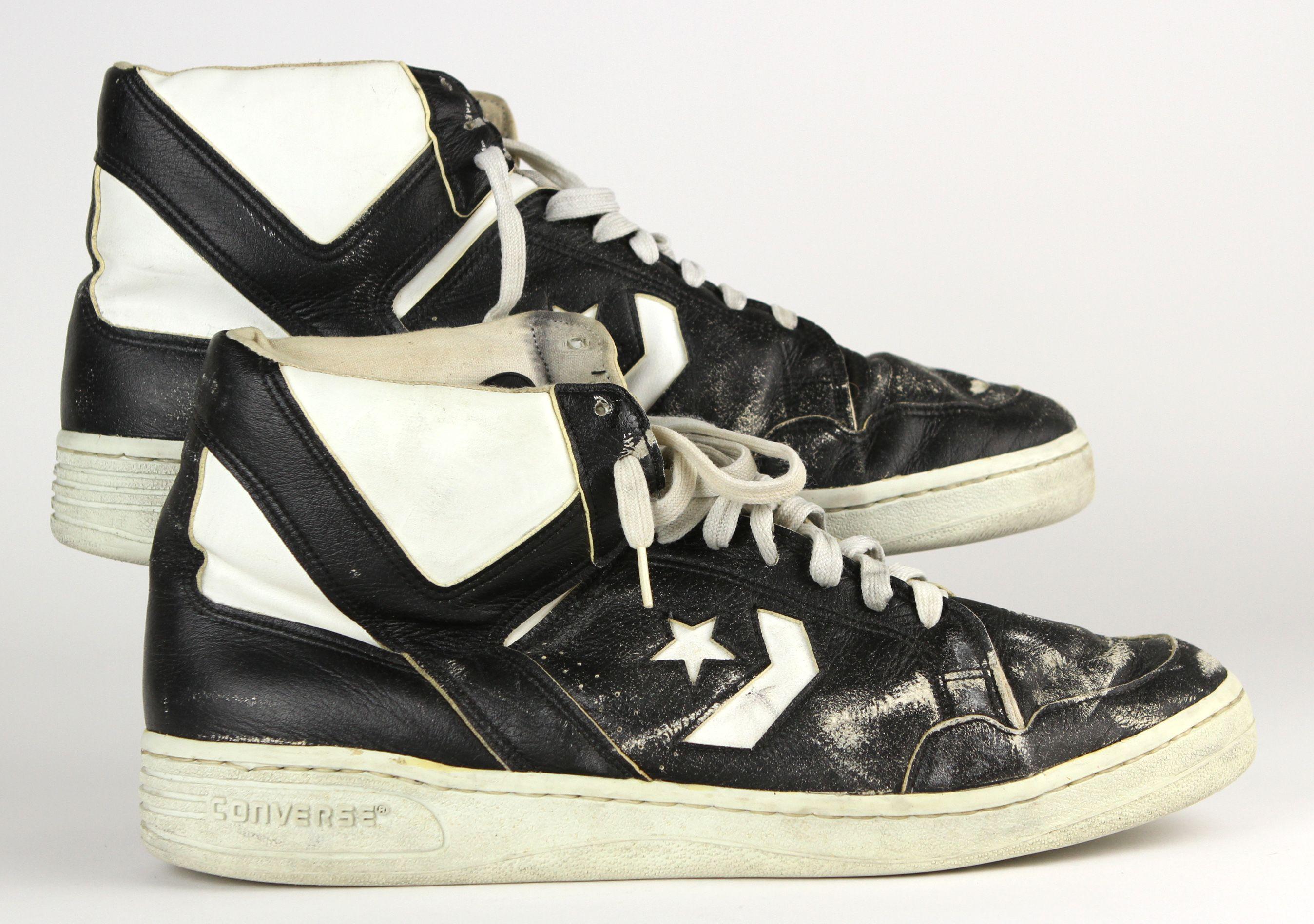 db927dddcaf Lot Detail - 1986 Larry Bird Boston Celtics Black Converse Dual Autographed  (JSA) NBA Championship   MVP Season Game Worn Shoes (Charity Auction ...