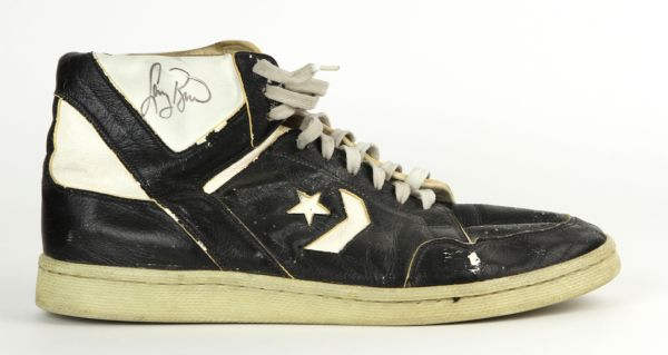 1986 Larry Bird Game Issued, Signed Celtics Converse Weapon Shoes JSA Full LOA