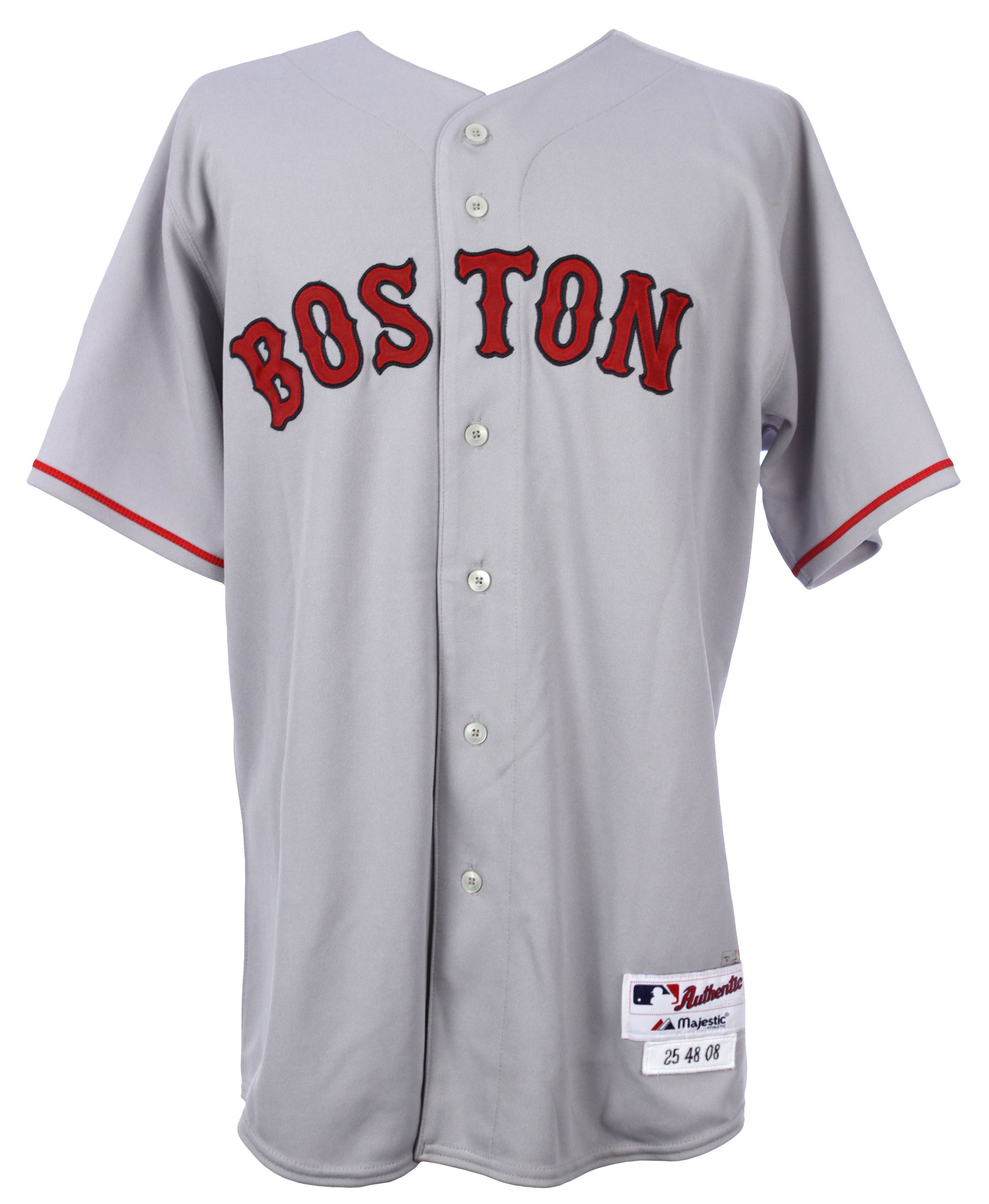 lot detail 2008 mike lowell boston red sox game worn road jersey rh mearsonlineauctions com