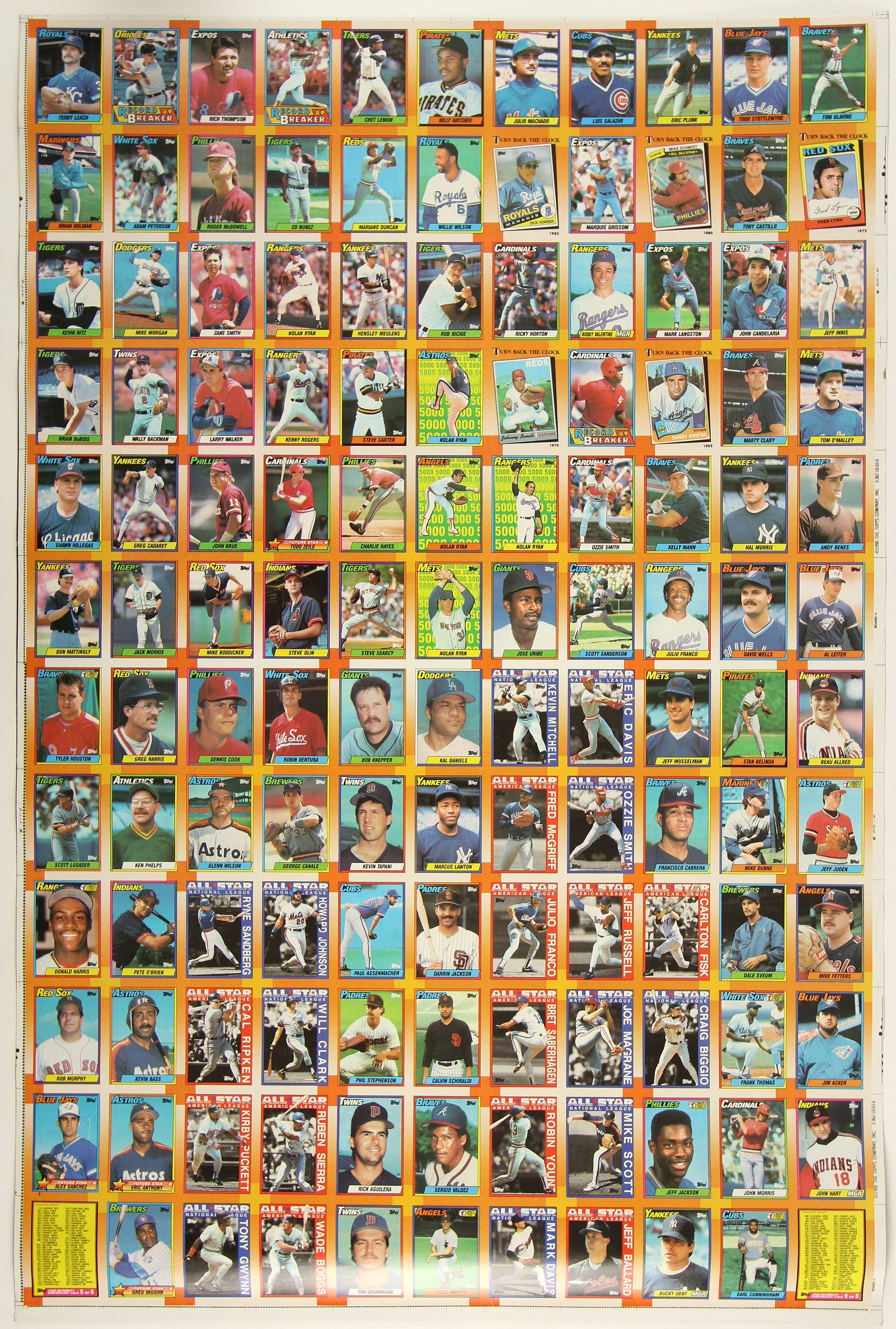 Lot Detail 1990 Topps Uncut Baseball Card Sheet W 132 Total Cards