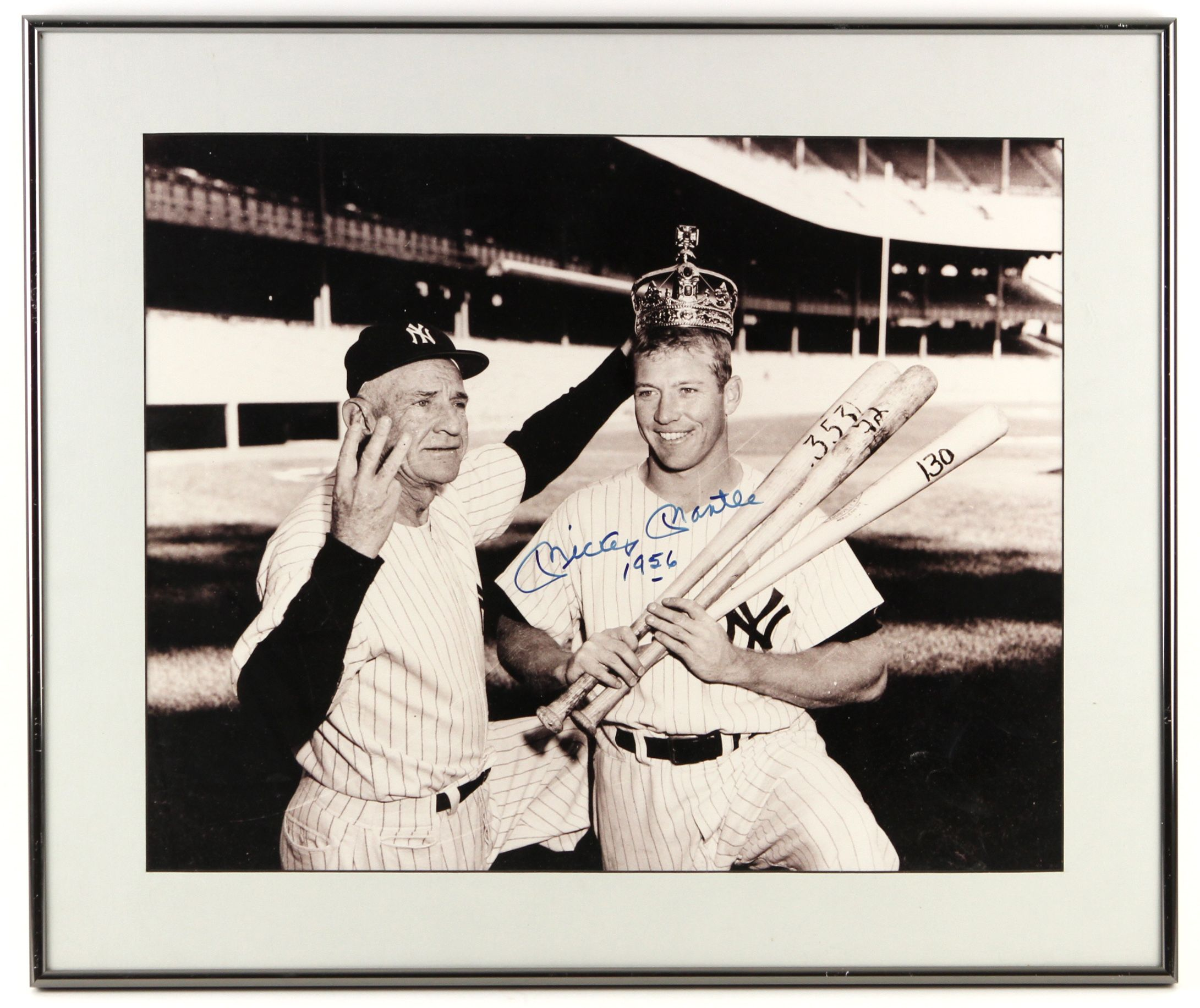 9186a52bc44 Lot Detail - 1956 circa Signed Framed Mickey Mantle Triple Crown ...