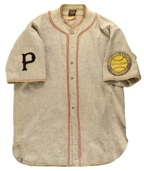 1925 Cliff Knox Pittsburgh Pirates World Champions Season Game Worn Road Uniform w/ original 25th Anniversary Patch (MEARS A9) Only Known Example!