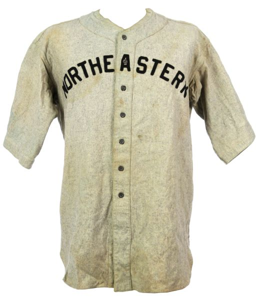 1936-42 Northeastern Game Worn Flannel Baseball Jersey (MEARS LOA)