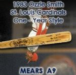 1983 Ozzie Smith St. Louis Cardinals Signed Louisville Slugger Professional Model Game Used Bat (MEARS A9 / JSA)