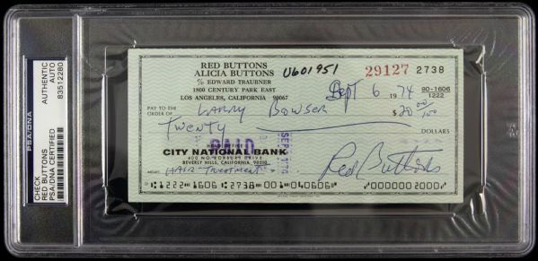 1974 Red Buttons Signed Check (PSA/DNA Slabbed)