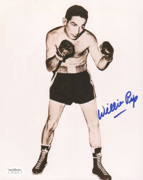 1940s Boxer Willie Pep Signed Photo JSA