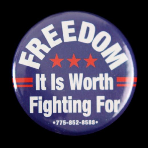 "1980s-90s Freedom It Is Worth Fighting For 1 3/4"" Pinback Button"